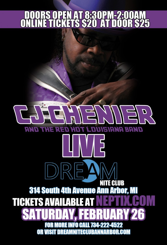 C.J. Chenier at Dream Nite Club flyer