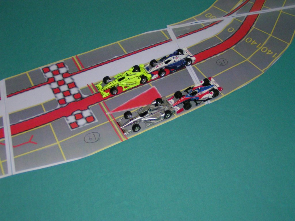 Cars fit on the straight sections.
