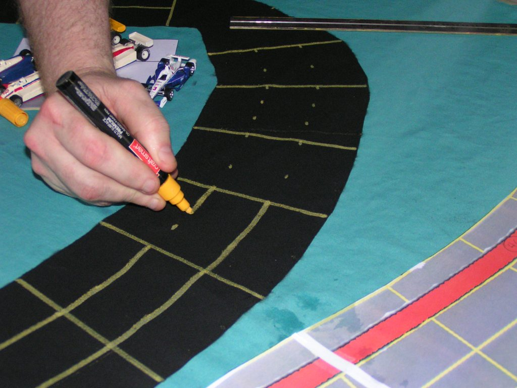 Drawing lane lines on curvy parts of the track.