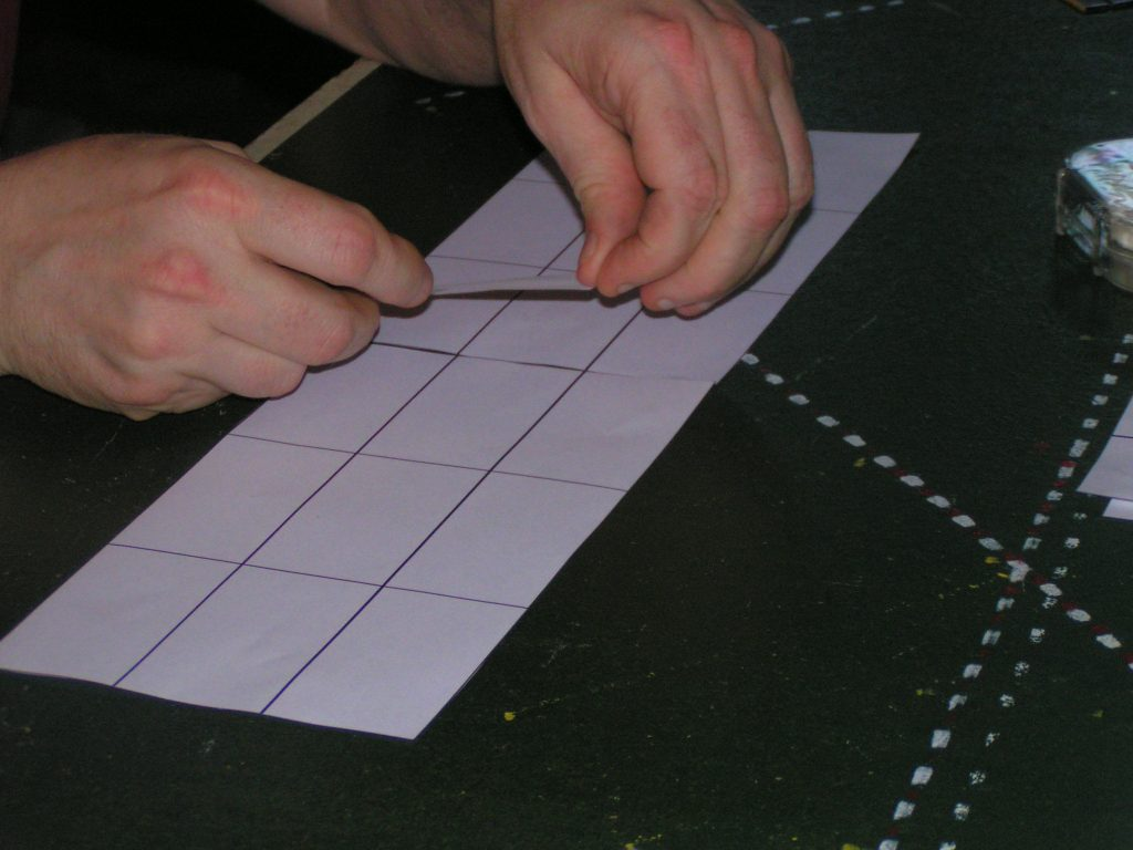 Taping straight templates to make longer straightaways.