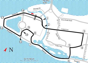 The Belle Isle track layout from Wikipedia.