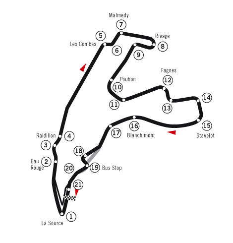 Map of the real Spa-Francorchamps race track.