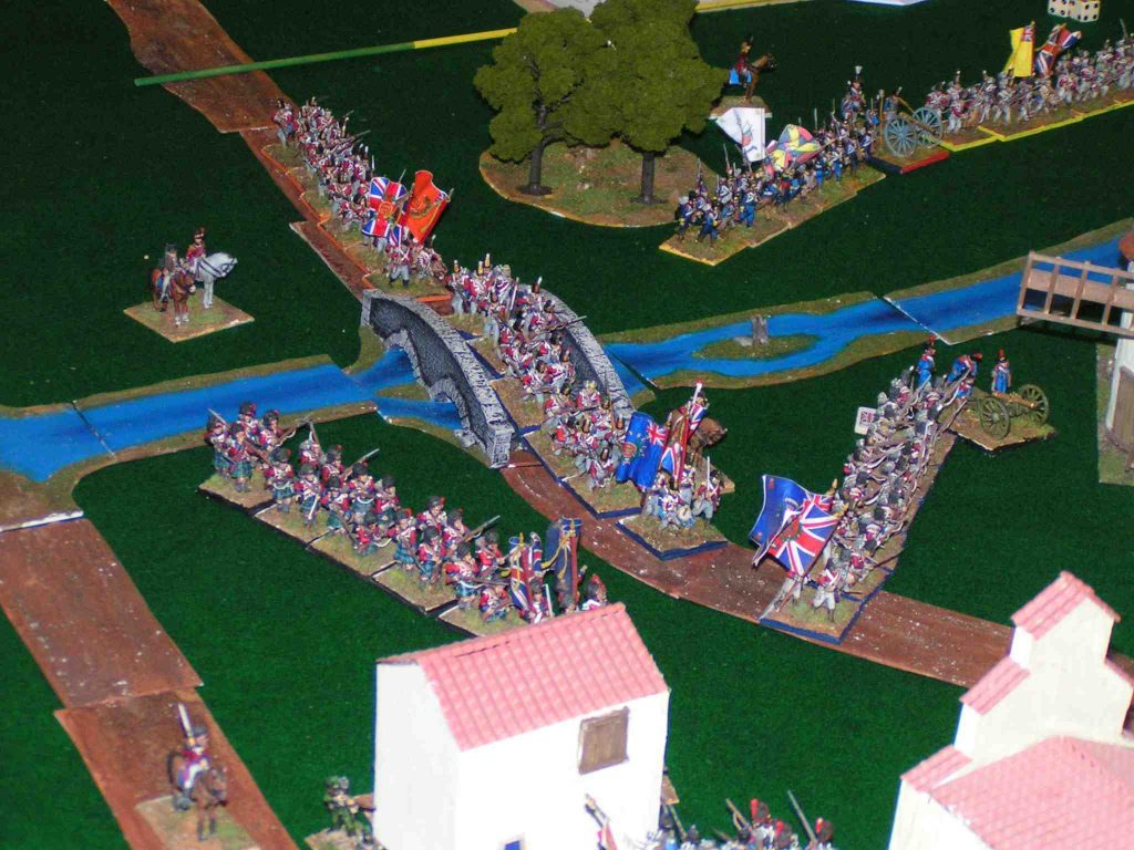 Napoleonic minis—the Redcoats advance across the bridge
