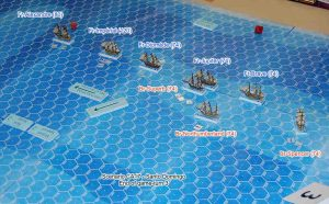 The ship positions at the end of game-turn 3