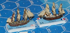 1:2000 scale ships on foam-core bases